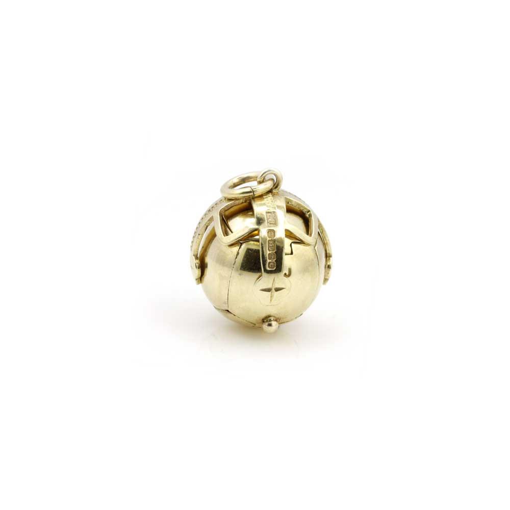 9ct Yellow Gold Masonic Handmade Orb Fob Ball Cross Pendant 2