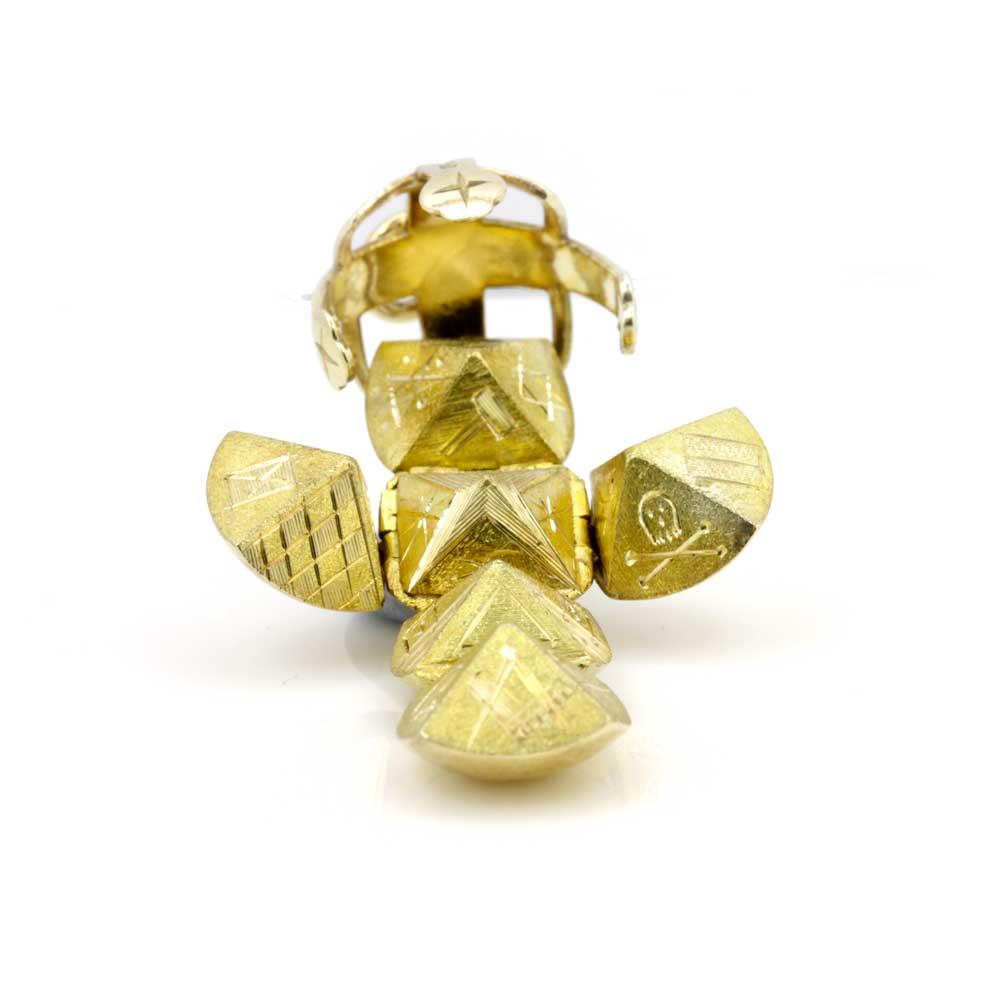 9ct Yellow Gold Masonic Handmade Orb Fob Ball Cross Pendant 4
