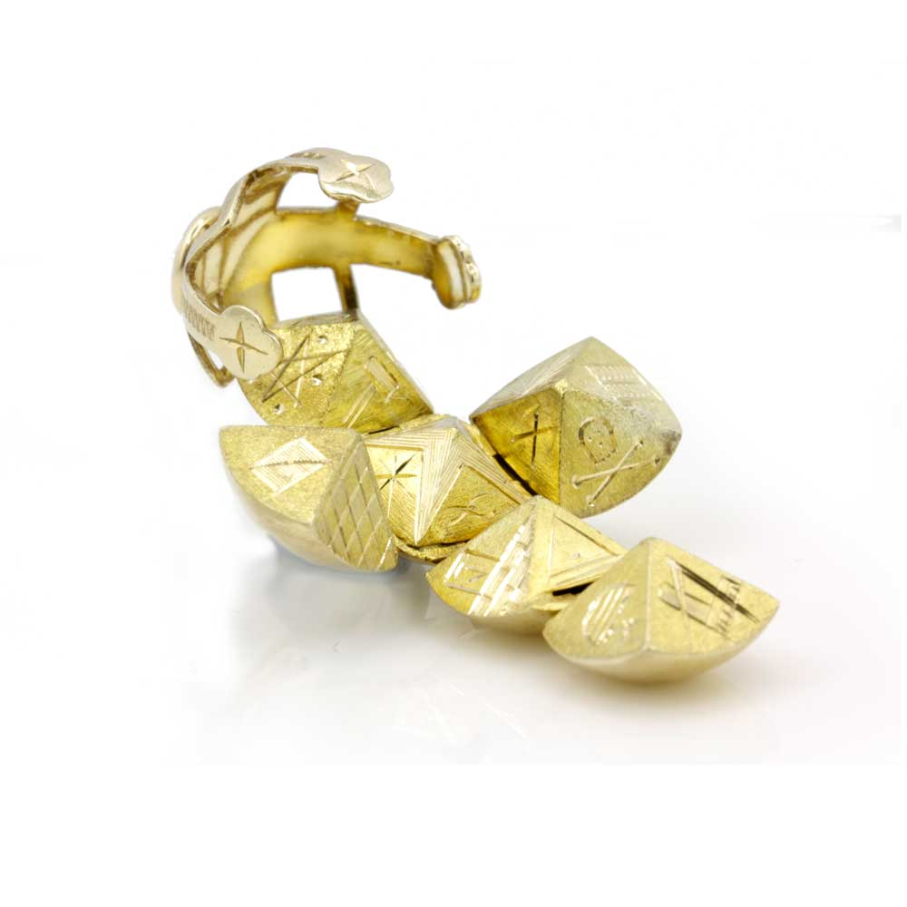 9ct Yellow Gold Masonic Handmade Orb Fob Ball Cross Pendant 3