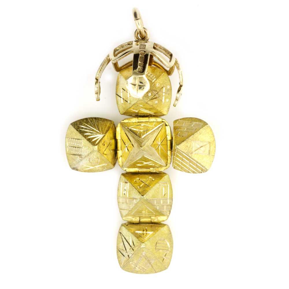 9ct Yellow Gold Masonic Handmade Orb Fob Ball Cross Pendant 5