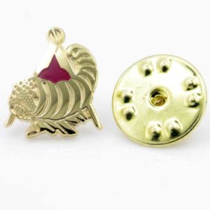 Gilt Metal and Enamel Cornucopia Horn of Plenty Lapel Pin