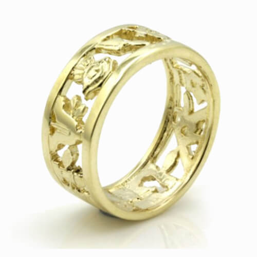 Masonic Wedding Ring in Solid 9ct Yellow Gold