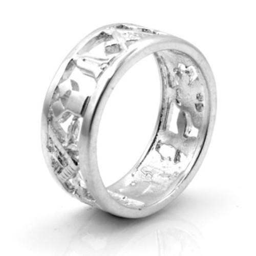 Solid Silver 925 Masonic Wedding Ring 1