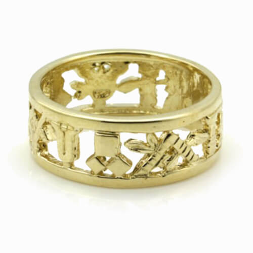 Masonic Wedding Ring in Solid 9ct Yellow Gold
