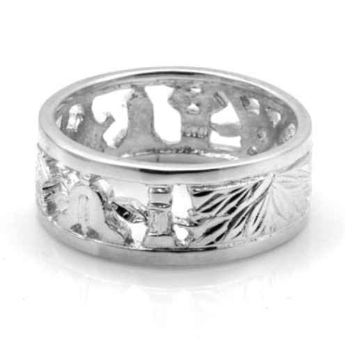 Solid Silver 925 Masonic Wedding Ring