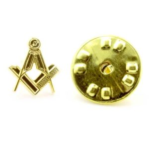 Gilt Metal Square & Compass Masonic Lapel or Tie Pin
