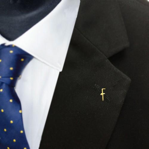 Gilt Metal Tubal Cane Masonic Lapel or Tie Pin