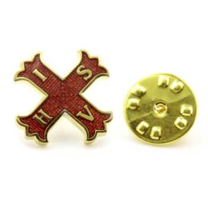 Gilt Metal and Enamel Red Cross of Constantine Masonic Lapel Pin