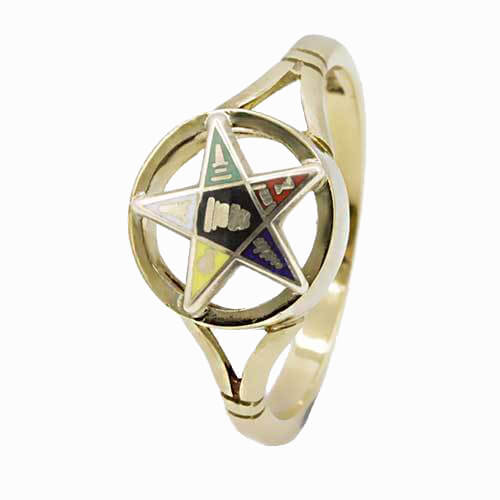 9ct Yellow Gold Order of the Eastern Star Masonic Ring 1