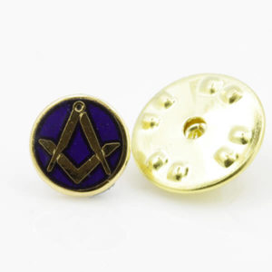 Gilt Metal Square and Compass Royal Blue Enamel Lapel Pin