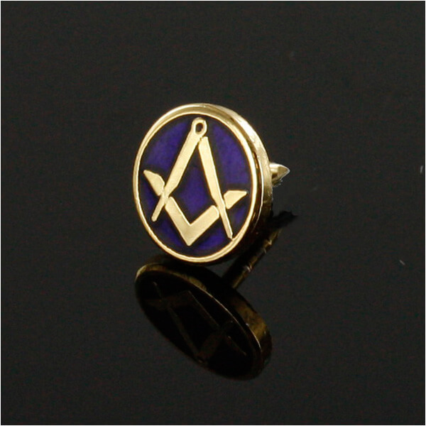 Gilt Metal Square and Compass Royal Blue Enamel Lapel Pin 3