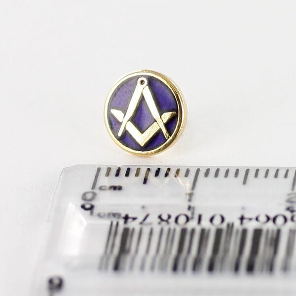Gilt Metal Square and Compass Royal Blue Enamel Lapel Pin 4