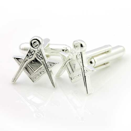 Silver Plated Masonic Cufflinks Depicting the Square & Compass
