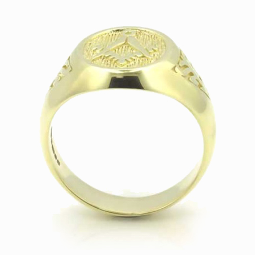 Solid 9ct Yellow Gold Masonic Signet Ring with Acacia Leaf Design 3