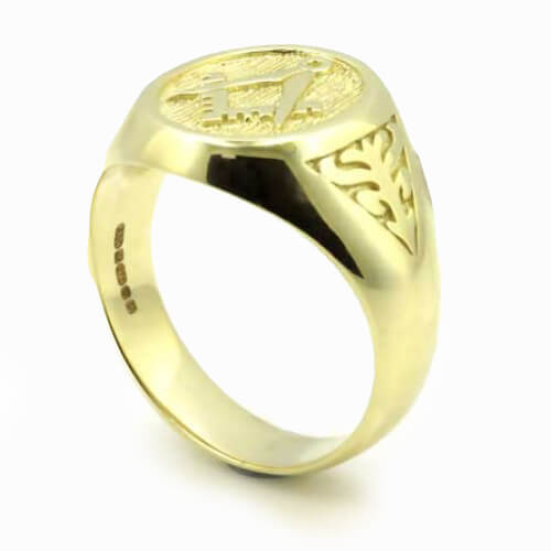 Solid 9ct Yellow Gold Masonic Signet Ring with Acacia Leaf Design