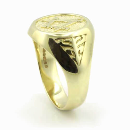 Solid 9ct Yellow Gold Masonic Signet Ring with Acacia Leaf Design 2