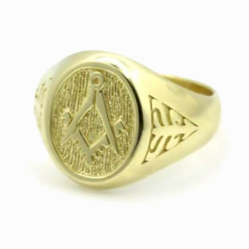 Solid 9ct Yellow Gold Masonic Signet Ring with Acacia Leaf Design 6