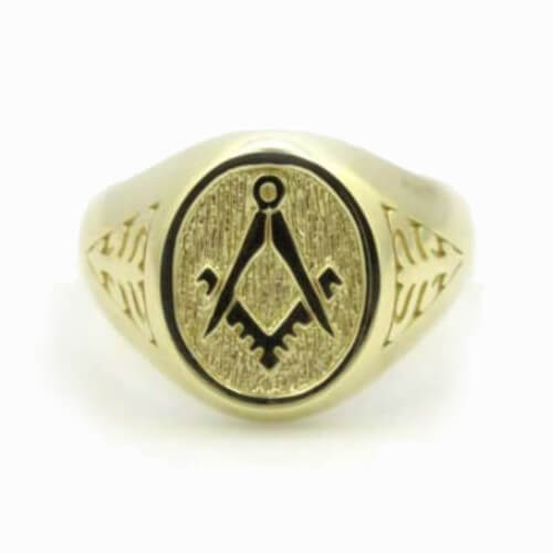 Solid 9ct Yellow Gold Masonic Signet Ring with Acacia Leaf Design 5