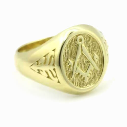 Solid 9ct Yellow Gold Masonic Signet Ring with Acacia Leaf Design 4