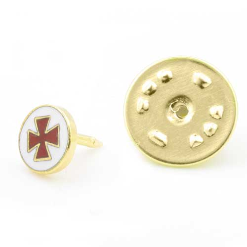 Gilt Metal and Enamel Knights Templer Masonic Lapel Pin (or Badge)