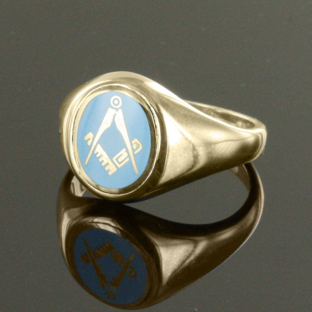 Gold Plated Oval Head with Light Blue Enamel Square And Compass Masonic  Ring- Fixed Head