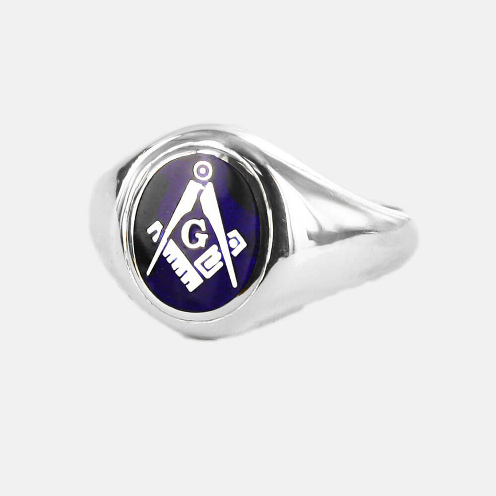 Silver Square And Compass with G Oval Head Masonic Ring (Blue)- Fixed Head