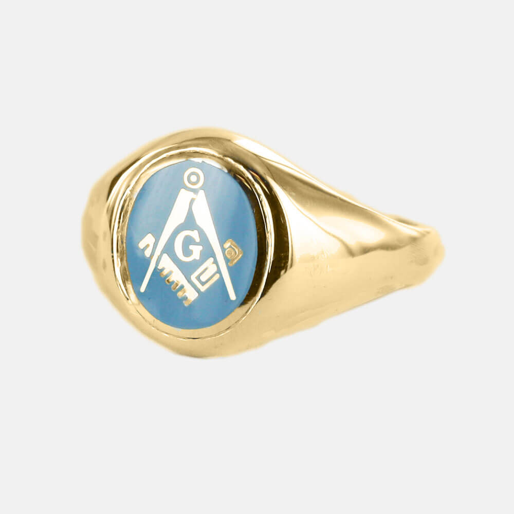 b4396134869fd Gold Plated Solid Silver Square And Compass with G Oval Head Masonic Ring  (Light Blue)- Fixed Head