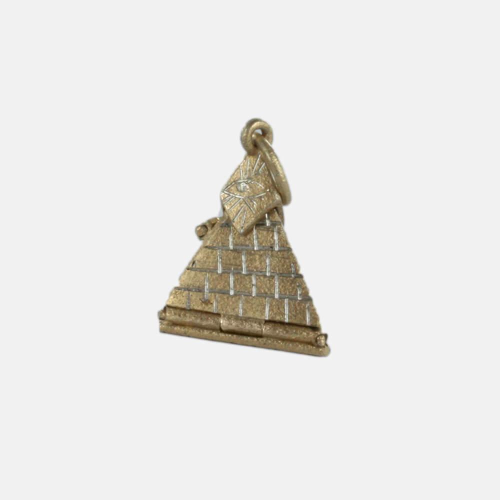 Solid Silver Gold Plated Masonic Pyramid Pendant Masonic
